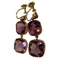 Stunning Amethyst 9 ct gold triple drop screw fitting earrings.