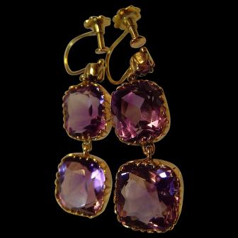 Stunning Amethyst 9 ct gold triple drop screw fitting earrings.