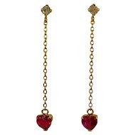 Vintage 18 ct Ruby and Diamond earrings