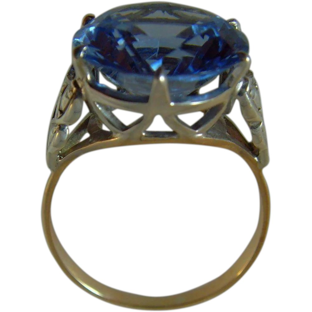 26f832b0447b0 Vintage Art Deco cocktail paste gold and silver ring : Syren ...
