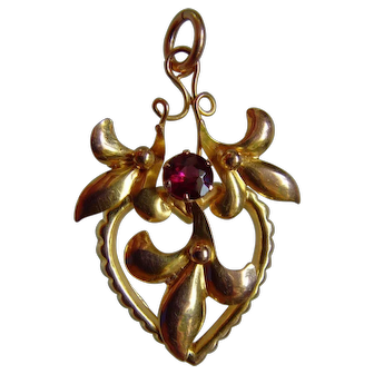 Original Art Nouveau English Almandine garnet 9ct gold Pendant, circ 1900
