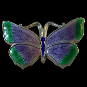 Antique 1917  Silver & Enamel Butterfly in Suffragette colours brooch