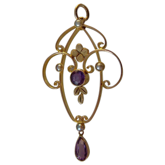 Edwardian 9 carat Amethyst and seed pearl pendant