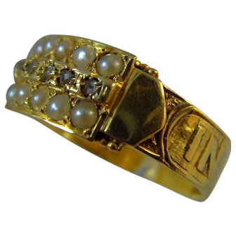 Victorian 15 ct gold hallmarked diamond and natural seed pearl mourning ring
