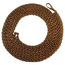 Victorian rolled gold 54 inch full length guard/muff chain