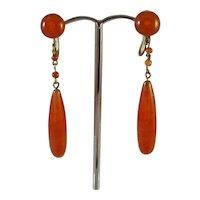 Edwardian glass drop screw fitting earrings
