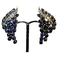 Vintage Art Deco1930s-1940s Stunning silver set (for pierced or clip) Sapphire and Diamond Earrings