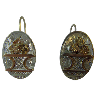 Antique Victorian Silver and gold Applique earrings