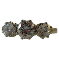 Vintage 18 ct yellow gold 3 stone Moissanite Ring