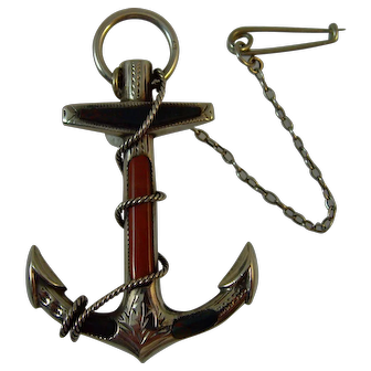 Victorian Scottish silver agate Anchor Brooch