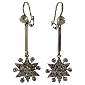 Magnificent pair of Victorian Platinum and Diamond Star Drop Earrings