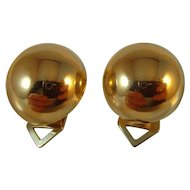 Vintage fine quality 18 ct Gold hallmarked domed clip-on Earrings