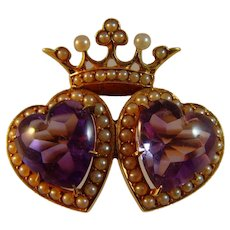 Antique Victorian Amethyst 14 ct gold Double Heart and Crown Brooch.
