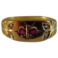 Antique Victorian hallmarked 15 ct gold Ruby and Diamond Ring