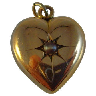 Antique Victorian 9ct rose gold puffy pearl set heart pendant/charm
