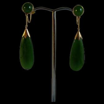 Vintage 9 ct gold Nephrite New Zealand Jade Drop Earrings