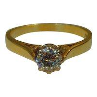 18 ct yellow gold Brilliant Cut Diamond  Solitaire Ring