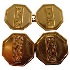 Pair Art Deco Octagonal hand engraved 9ct gold Cufflinks