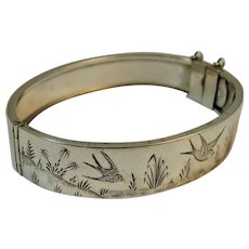 Victorian silver Aesthetic movement bangle