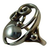 Vintage silver 1950s Scandinavian ring by John L lauritzen