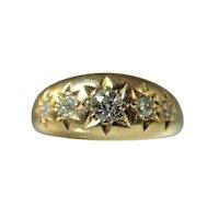 Edwardian 18 ct gold 5 stone diamond gypsy set ring