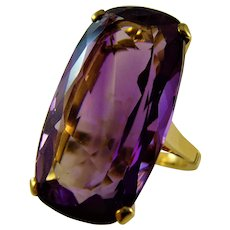 Magnificent 18ct Vintage 33 ct natural untreated Amethyst 1950/60s Cocktail Ring