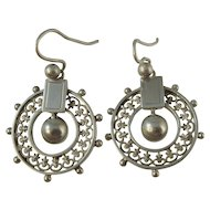 Antique Victorian Silver Halo Fleur De Lis Earrings