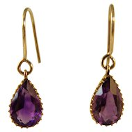 Antique Victorian Amethyst 9ct gold drop Earrings