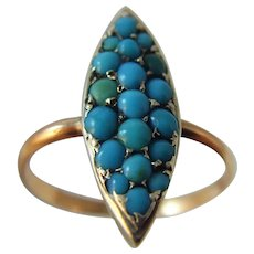 Antique Victorian navette Turquoise rose/red gold and silver ring