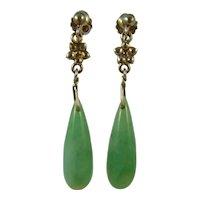 Pair Art Deco silver 1920s natural Jade torpedo drop earring