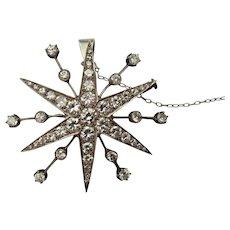 Victorian platinum Diamond 6 point star brooch/pendant