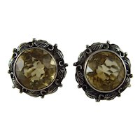 Vintage Arts and crafts silver and Citrine earrings by Bernard Instone