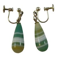 Antique Edwardian silver and green agate drop earrings