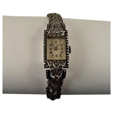 Art Deco 1930s - 1940s silver marcasite watch