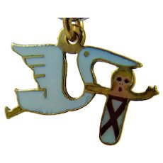 1920s Enamel 9ct gold stork and baby charm