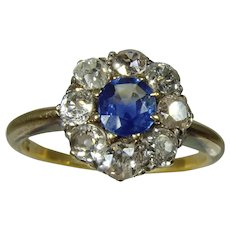 Antique  Victorian 18ct yellow gold fine quality Diamond and Sapphire cluster ring