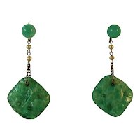Art Deco faux Jade and Pearl earrings