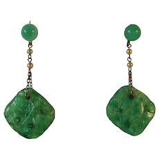 Art Deco faux Jade and Pearl earrings