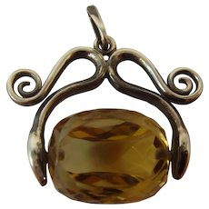 Fabulous Arts and Crafts Edwardian silver spinning Citrine fob
