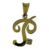 Vintage 18ct gold and diamond letter P pendant