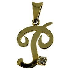 Vintage 18ct gold and diamond letter P pendant