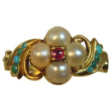 Antique Georgian/Victorian 18ct Pearl, Ruby and Turquoise cluster ring