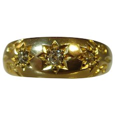 Antique Victorian 18ct gypsy 3 diamond ring