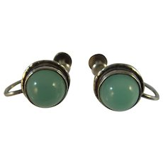 Antique Arts and Crafts sterling silver green onyx earrings