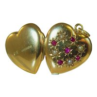 Mid century 9ct yellow gold ruby and pearl locket