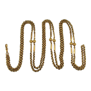 Antique Victorian 9ct gold guard chain