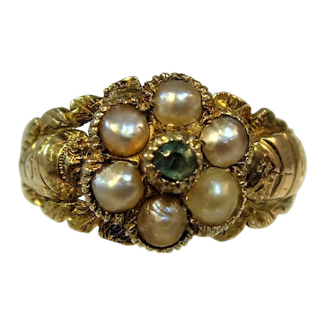 Antique Georgian Pearl and Emerald ring