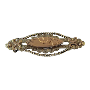 Antique Victorian silver and gold applique brooch