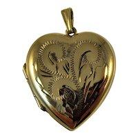 Vintage engraved 9ct gold heart locket