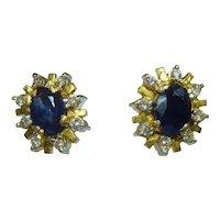 Vintage 18ct gold diamond and sapphire stud earrings
